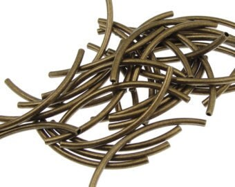 Curved Metal Tubes - 25mm - Antique Bronze - Pack 50