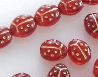 Czech Glass Lady Birds - Red & Gold - 13.5x11mm