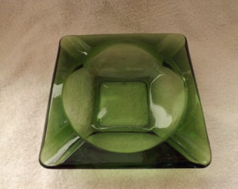 Retro Green Glass Ashtray