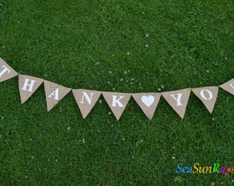 Burlap Thank you Hessian Bunting Wedding Decorations Shop Display