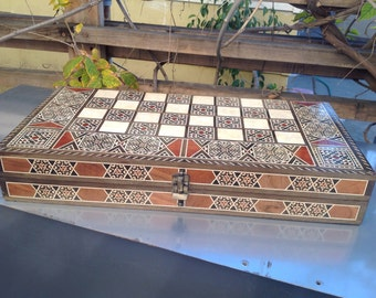 Inlaid Moorish Backgammon Chess Board Mother of Pearl Large