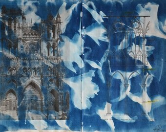 Cathedral Adorned - Original Cyanotype on Vintage Book Pages