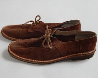 Soviet Vintage Mens Shoes Brown Suede Leather Shoes 1970 s, Men Vintage Footwear EUR 43-44