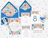 Happy Modern Scandinavian Floral Pattern Wedding Invitations - Carol Collection - FREE SHIPPING