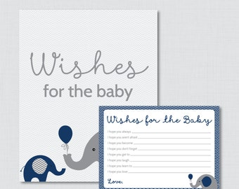 Wishes for Baby Baby Shower Activity Elephant Baby Shower Well Wishes for Baby Cards and Sign - Printable Instant Download - Navy 0024-N