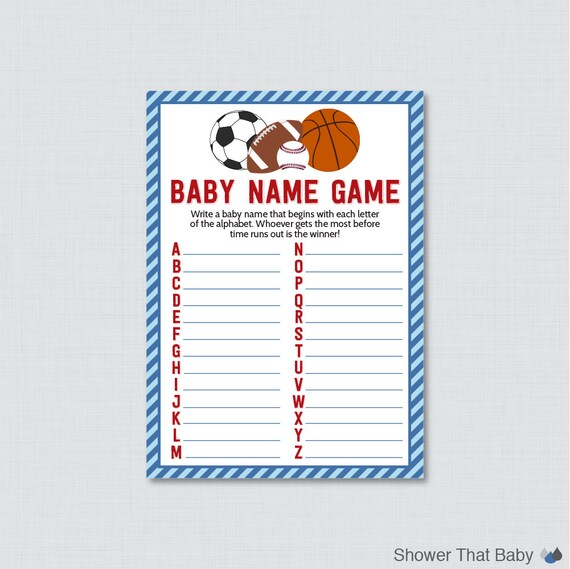 Sports Themed Baby Shower Baby Name Game By ShowerThatBaby