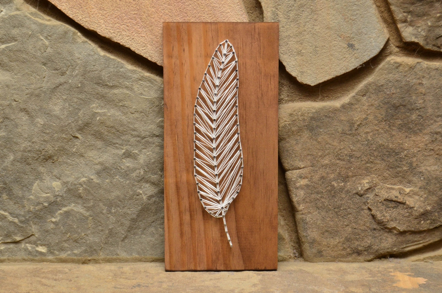 Feather string art wood home decor rustic by hannahmcentireart for Wooden art home decorations