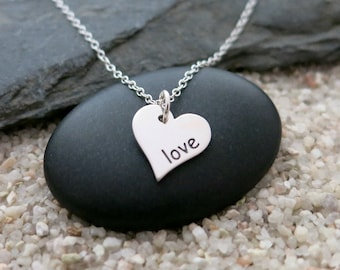 Love Heart Necklace, Sterling Silver Heart Charm, Love Jewelry