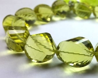 Green Gold Lemon Quartz Faceted Twisted Oval 8 inch Strand 14x10 -16x10 M.M.