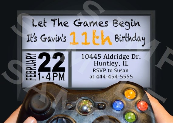 VIDEO GAME Birthday Party Invitation Xbox by ...
