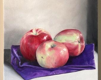 Apple Painting Original Still Life Original painting Kitchen Decor Kitchen Art Apple Oil Painting Apple Art