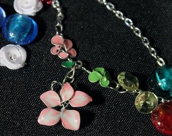Spring, Wireflower, Chain, pendant, Flower, Nailpolish, Rose, nail polish, wire, flower