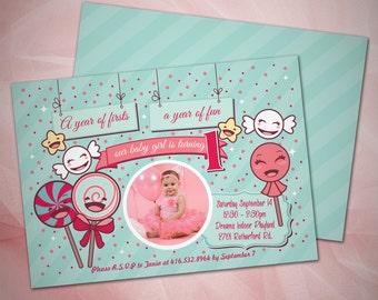Lolipop First Birthday Girl Invitation/Printable Invitation