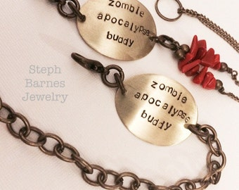 His and hers zombie apocalypse buddy bracelets (2) in bronze with coral detail on hers