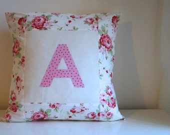 Personalised cushion cover with Initial : Rosalie 18""