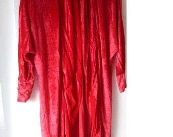 Handarbeit Morgenrock GLANZ Kleid Mantel Samt rot L 40 NEU Einzelstück ROBE