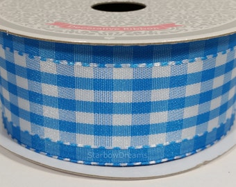 "1 1/2"" Polyester Gingham with Saddle Stitch - Blue - 10 Yards"