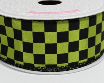 "1 1/2"" Black Checkered Ribbon - Apple Green - 10 Yards"