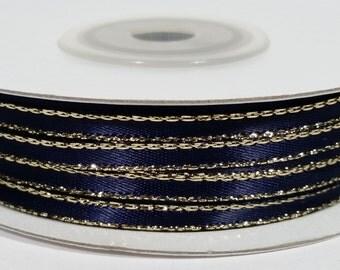 "1/8"" Satin Ribbon with Gold Edge - Navy Blue"