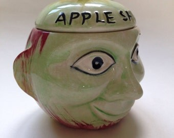 40s/50s ceramic apple face pot! Kitsch kitchenalia