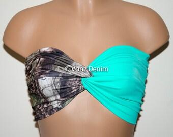Camo and Mint Bandeau Top, Swimwear Bikini Top, Twisted Top Bathing Suits, Mint Spandex Bandeau Bikini