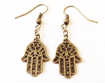 Hamsa Hand Earrings, Fatima Earrings, Dangle Earrings, Bohemian Earrings, Charm Earrings, Antiqued Brass Charm Earrings, Protection Earrings