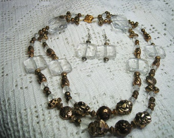 Vintage Lucite & Rosett Antique Gold Plated Necklace Earrings