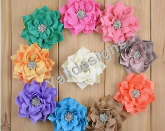 10pcs Wholesale 8CM 3.1'' inch Spike Lotus Leaves Flower Brooch/ Rhinestone Chiffon Flower Headdress For Pin and Headband YTA10A