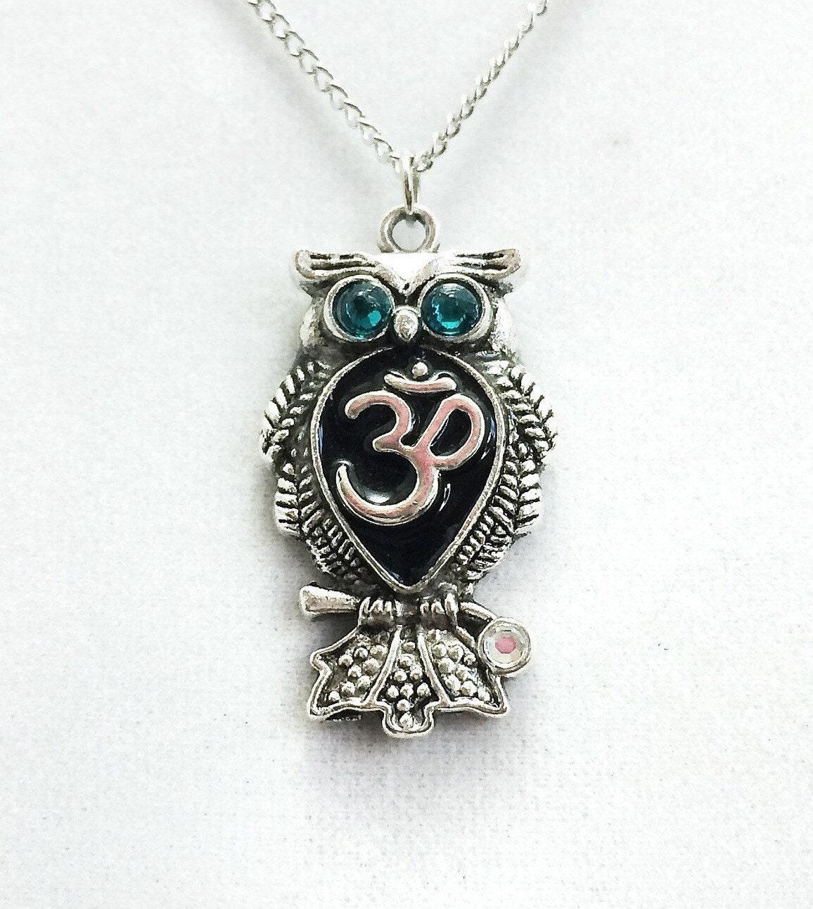 Om Necklace / Owl Jewelry / Spiritual Jewelry / Birthstone