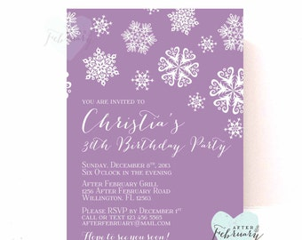 Winter Adult Birthday Invitation - Adult Birthday Christmas Holiday Muted Purple - Printable No.581