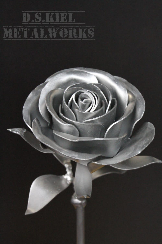 Metal Long Stem Steel Rose Silver Painted Steampunk Rose