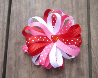 Valentine's Loopy Hair Bow; Red, Pink, & White Valentine Hair Clip