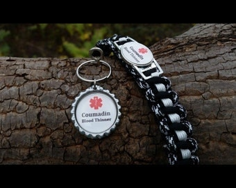 Coumadin Medical Alert Survival Bracelet  with Matching Bottle Cap Keychain Made in USA