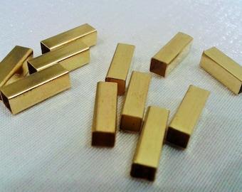 50 Pcs Raw Brass 4x12 mm Geometric Square Findings Form , Tube