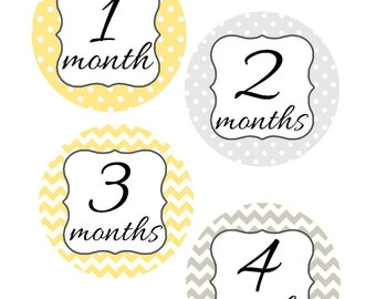 Monthly Stickers, Milestone Stickers, Baby Month Stickers, Monthly Stickers, Monthly Baby Sticker, Baby Shower Gifts, Gender Neutral, U15