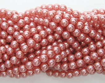 Rose Pink Pearl, Czech Round Glass Imitation Pearls in 2mm, 3mm, 4mm, 6mm, 8mm, 10mm