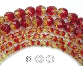 8mm (51pcs) Fire Opal 2-tone color, Czech Fire Polished Round Faceted Glass Beads