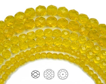 8mm (51pcs) Citrine color, Czech Fire Polished Round Faceted Glass Beads
