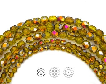4mm (102pcs) Citrine Santander coated color, Czech Fire Polished Round Faceted Glass Beads