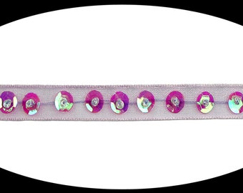Beaded Organza Ribbon Trim with Magenta Iridescent Sequins Trimming Craft Supplies DIY Scrapbooking Embellishment BB061