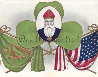 Antique St. Patrick's Day Postcard with the American Flag and the Irish Flag and a large green clover INSTANT Download