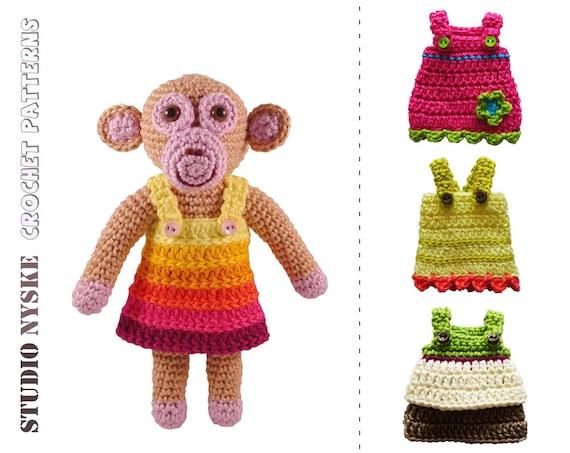 Amigurumi Clothes Pattern : Amigurumi crochet PATTERN dress up doll monkey by StudioNyske