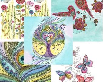 Art Greetings Cards Multipack of 5