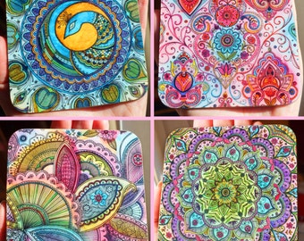 Coasters - mixed pack of 4 designs