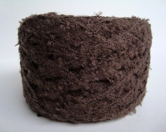 Yarn Boucle or Knop Yarn, 100g balls OAK Dark Chocolate Brown, soft and textured.