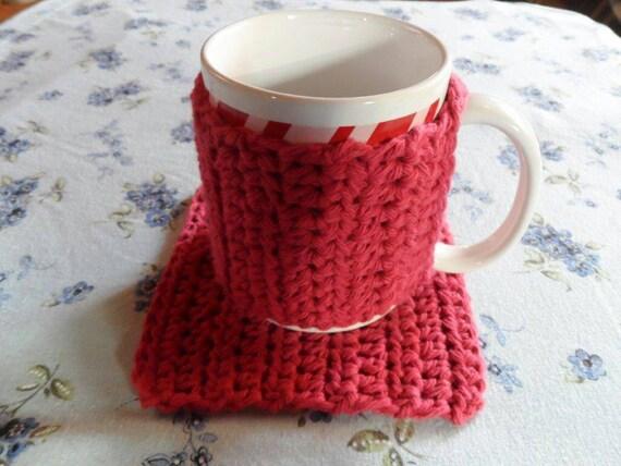 Free Crochet Pattern For Mug Rug : Crochet coffee cup cozy and mug rug set