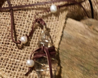 Necklace  - glass prism with gold wire wrap and freshwater pearls