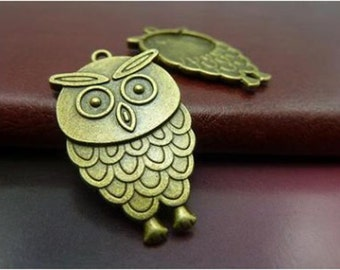 Bulk- 40pcs  20x35mm Antique Silver Lovely Owl Charm Pendant. c5641