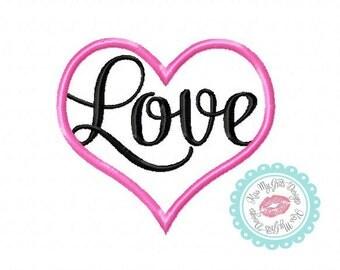 Love Inside Heart Machine Embroidery Applique Design