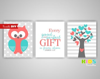 Printable DIY Nursery Art Prints, Coral, Turquoise, Owl, Tree, Bible verse, James 1:17, Set of 3, 8x10 JPG files ( 1013s810 ) ( cc098 )